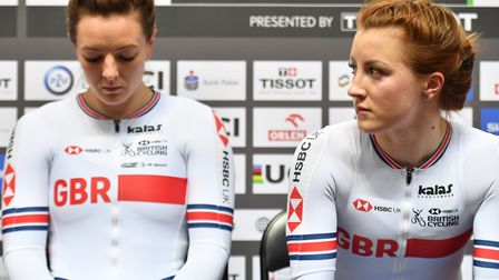 Katy Marchant, left, and Victoria Williamson couldn't hide their disappointment after team sprint qu