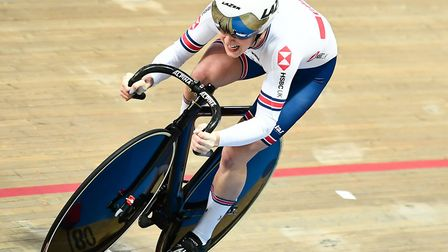 Victoria Williamson races the women's 500m time-trial at the UCI Track Cycling World Championships i