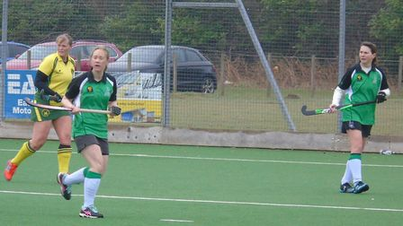 Broadland goal scorers Abi Dennison (left) and Kelly Allen in action against Norwich City IV on Satu