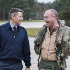 Flt Lt Stradling is greeted by the Station Commander of RAF Marham, Group Captain Ian Townsend, foll