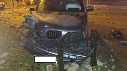 The BMW X5 smashed into the column on a traffic island at the junction with Pitt Street and St Augus
