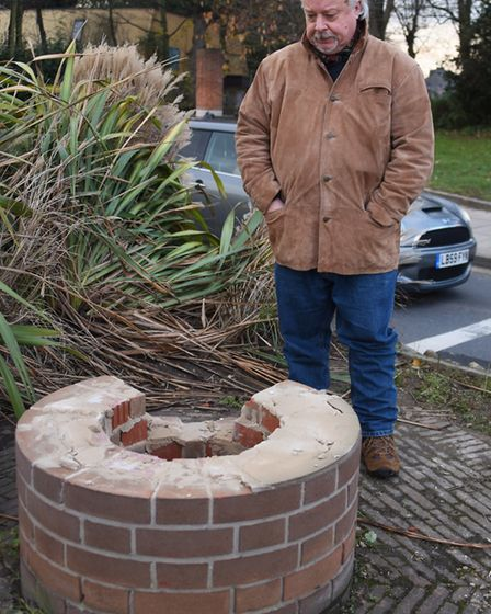 Local historian Stuart McLaren with the remains of the sculpture inspired by Norwich's textile indus