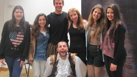 Nick Potts (bottom) with Josh Mills and Katie Potts (top middle) alongside audience members. Picture
