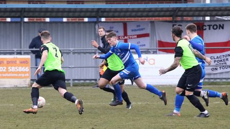 Action from Kirkley's home defeat to FC Clacton a week ago - the Royals head to leaders Histon this