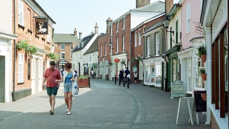 The Thoroughfare in Halesworth town centre, where filming for a romantic comedy directed by Danny Bo