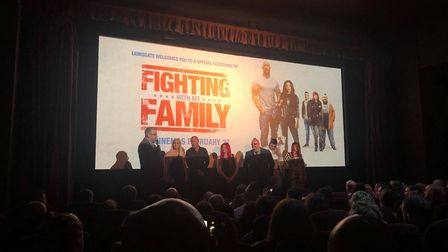 The Knight family at the premiere of Fighting with my Family at Cinema City in Norwich.
