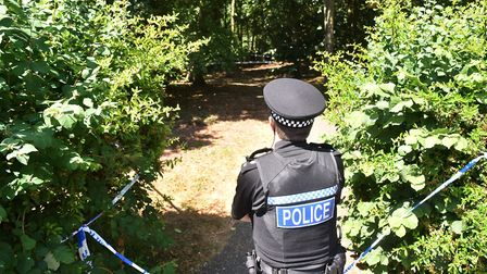 Police searching a park off Adelaide Street, Norwich, after a shooting.Picture: ANTONY KELLY