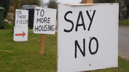 Signs from a previous protest against new developments in Harling. Picture: DENISE BRADLEY