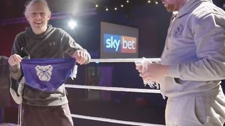 Jimmy Bullard joins Grant Holt in the ring. Picture: Sky Bet