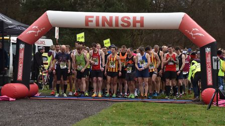 Runners get ready for the start of the Ringland Half Marathon. Picture: Sonya Duncan