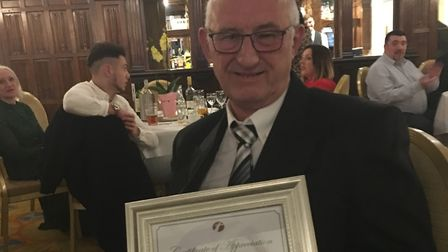 Kenneth Willis has worked for First Bus for 47 years and was honoured for his service at its annual