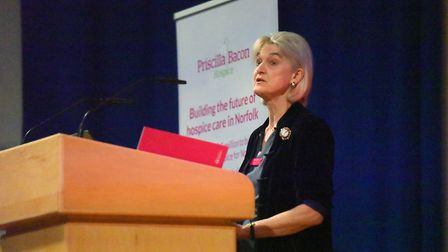 Lady Bacon speaking at the launch of the 12 million Priscilla Bacon Hospice Appeal, John Innes Confe