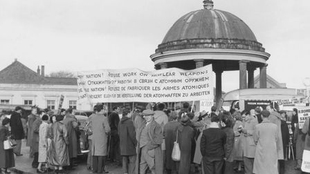 """North Pickenham missile march on 6 December 1958 - banner states """"Refuse work on nuclear weapons"""". P"""