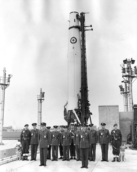 The Thor missile at RAF Feltwell, 10 February 1960. Photo: Archant Library