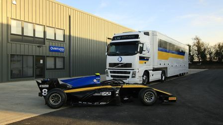The team truck and Luca Ghiotto''s Formula 2 car outside the new purpos- built workshop of Virtuosi