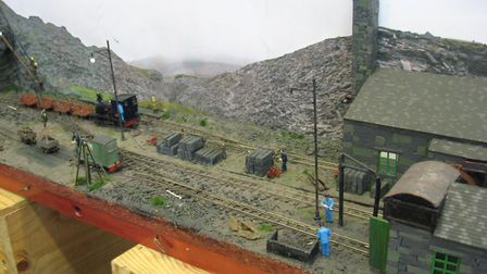 Tim Williams brought his 009 Welsh slate quarry themed 'Chwarel Tegid' layout from Birmingham. Pictu