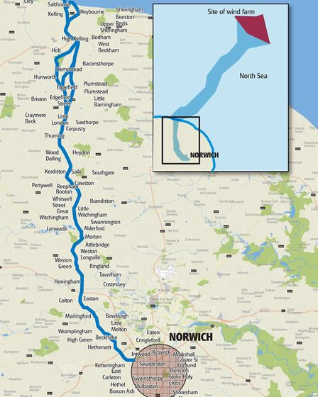 Graphic showing the proposed route of the cable for Hornsea Project Three wind farm. Image: ARCHANT