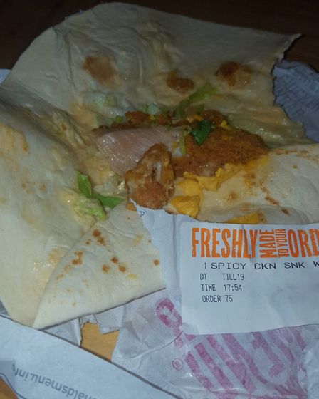 The chicken snack wrap with raw chicken served by Thetford McDonald's. Picture: Sasha Ann