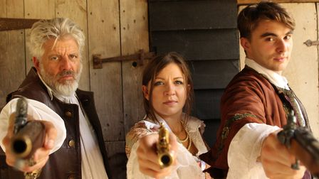 The cast Geir Madland, Hayley Evenett and Quinn Richards in the touring play The Honest Gentleman Ph