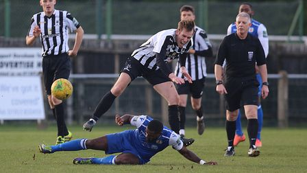 Action from Dereham Town's 2-2 draw with Grays at Aldiss Park on Saturday Picture: Alan Palmer