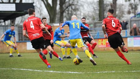 Chris Henderson in action for King's Lynn Town PICTURE: Jamie Honeywood