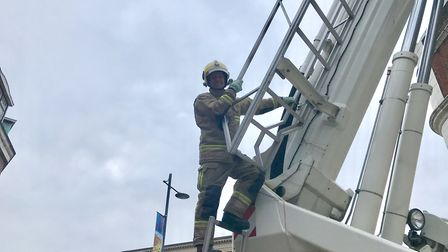 The fire crew from North Earlham fire station are doing a non-stop charity climb for the Harry appea