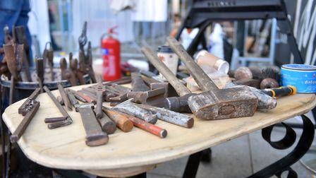 Chris Mudd's blacksmith demonstration outside The Forum, Norwich, Norfolk Makers Festival. PICTURE: