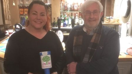 The Queen's Head Hotel owner, Kate Wood pictured with Pear Tree Fund trusteeTed Edwards. Picture: Co
