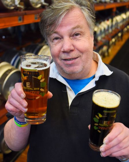 Organiser Martin Ward with two of the Norfolk beers as preparations are well under way for the 2019