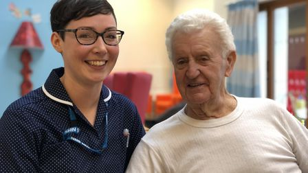 Jessica Ogden, clinical team lead, speaks with dementia patient 87-year-old Ivor 'Ronnie' Howgate, f