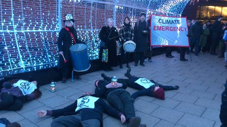 Protestors from Extinction Rebellion performed a 'die-in' to raise awareness of climate change. Pict