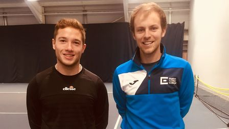 Alfie Hewett, left, at the Easton tennis centre preparing for his upcoming schedule, with tennis coa