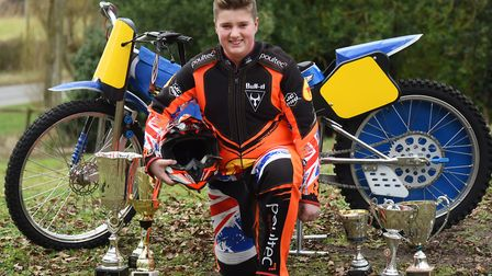 Kenzie Cossey, 13, appealing for sponsors as he progresses well in grass track racing. Picture: DENI