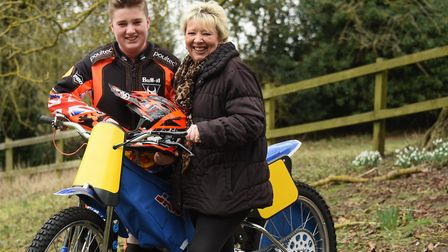 Kenzie Cossey, 13, with bis mum, Tracy, appealing for sponsors as he progresses well in grass track