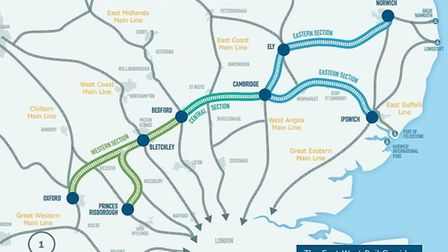The proposed direct rail links between Norwich, Ipswich, Cambridge and Oxford in the 'Eastern Sectio