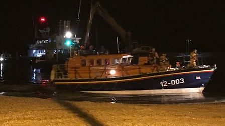 The Wells All Weather Lifeboat launched from its boathouse at 5.42pm on Thursday to help the fishing
