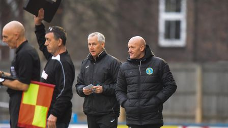 Ian Culverhouse, centre, and Paul Bastock won't let Bedworth's Bedworth's lowly position fool them P