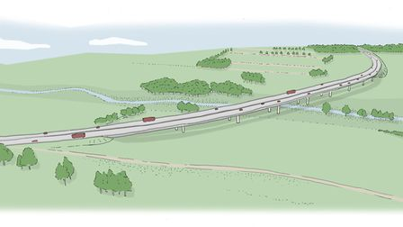 Artist's impression of a viaduct which could carry the Western Link over the River Wensum. Photo: No