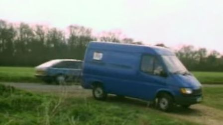 A replica of the dark-coloured hire van seen close to where Jeanette's body was dumped in Wangford.