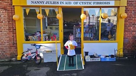 Layla pictured outside of the new charity store in Beccles. Picture: Contributed by the Cystic Fibro