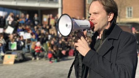 Dr Rupert Read from Extinction Rebellion makes speech during the Youth Strike 4 Climate demonstratio