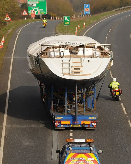 Drivers can expect delays this weekend as a 48 tonne boat is transported across Norfolk. Picture: De