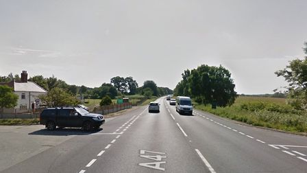 The collision happened near the Sandy Lane junction on the A47 at Hockering. Picture: Google