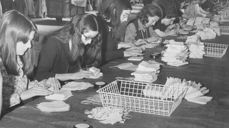 Counting the votes at St Andrews Hall, Norwich on June 7, 1975. Photo: Archant