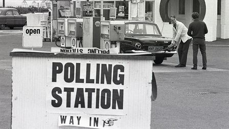 Polling station in King's Lynn on the ECC Referendum day, 5 June 1975. Photo: Archant Library