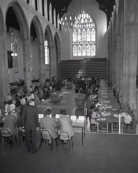 Counting the ECC Referendum votes in St Andrew's Hall in Norwich, 5 June 1975. Photo: Archant Librar