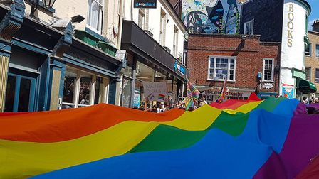 Rainbow Flag on the streets of Norwich. Picture: Josh Dyball