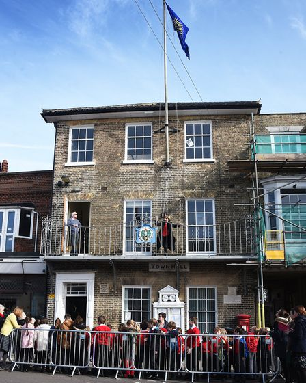 The Commonwealth flag is raised above Southwold Town Hall during a previous ceremony as Southwold Pr