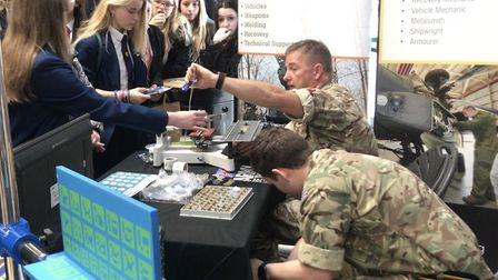 Students at the REME stand at the Norfolk Skills and Careers Festival 2019. Picture: Archant