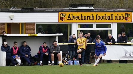 Lowestoft's bench during the 4-2 defeat at Alvechurch. Picture: Shirley D Whitlow